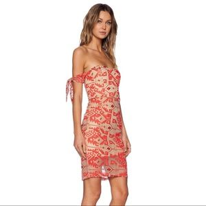 Line & Dot Embroidered Cap Sleeve Dress Red NWT